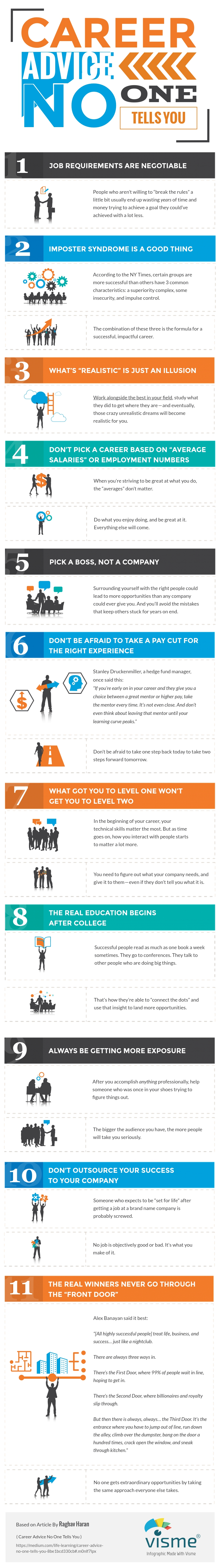 career advice nobody tells you infographic margaret buj one of the best and helpful career advice i ve is by raghav haran he pretty much summarized all the career hacks we need to know in this infographic